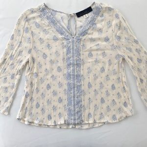 Ivory and Blue Paisley Blouse